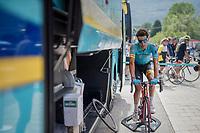 Fabio Aru (ITA/Astana) warming down after the stage<br /> <br /> Stage 6: Le parc des oiseaux/Villars-Les-Dombes › La Motte-Servolex (147km)<br /> 69th Critérium du Dauphiné 2017