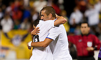 Sergio Canales (left) hugs Karim Benzema (right) after the goal. Real Madrid defeated Club America 3-2 at Candlestick Park in San Francisco, California on August 4th, 2010.