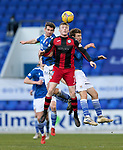 St Johnstone v St Mirren…16.01.21   McDiarmid Park     SPFL<br />Jake Doyle-Hayes is challenged by Craig Bryson and David Wotherspoon <br />Picture by Graeme Hart.<br />Copyright Perthshire Picture Agency<br />Tel: 01738 623350  Mobile: 07990 594431