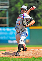 15 July 2010: Aberdeen IronBirds' starting pitcher Justin Moore in action against the Vermont Lake Monsters at Centennial Field in Burlington, Vermont. The Lake Monsters rallied in the bottom of the 9th inning to defeat the IronBirds 7-6 notching their league leading 20th win of the 2010 NY Penn League season. Mandatory Credit: Ed Wolfstein Photo