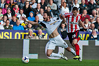 Saturday 19 October 2013 Pictured: Michu of Swansea has his shirt pulled by Valentin Roberge of Sunderland<br /> Re: Barclays Premier League Swansea City vSunderland at the Liberty Stadium, Swansea, Wales