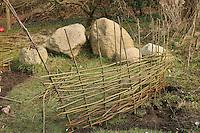 Kinder bauen einen Weidenzaun als Umrandung eines Beetes, Weidenzweige, Weidenruten vom Schneiden einer Kopfweide werden in den Boden gesteckt und wachsen an, Lebender Zaun, zwischen den senkrechten Zweigen werden dünne Weidenzweige eingeflochten