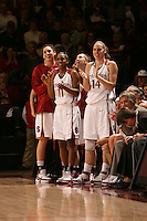 31 January 2008: Stanford Cardinal (L-R) Ashley Cimino, Candice Wiggins, Hannah Donaghe, and Kayla Pedersen during Stanford's 77-51 win against the USC Trojans at Maples Pavilion in Stanford, CA.