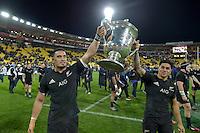 All Blacks' Jerome Kaino and Malakai Fekitoa. All Blacks v Wallabies. The Rugby Championship & Bledisloe Cup at Westpac Stadium, Wellington, New Zealand on Saturday 27 August 2016.<br /> Photo by Masanori Udagawa. <br /> www.photowellington.photoshelter.com.