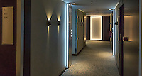 Hotel hallway and rooms.