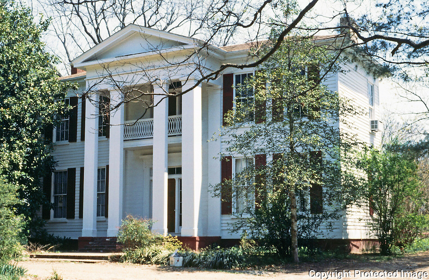 Oxford:  Cedar Oaks, , late 1850's.   Greek Revival home, designed by William Turner,  headquarters for General McPherson during Grant's occupation of Oxford in 1862. House was moved from original location to 601 Murray Drive.