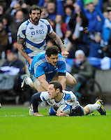 Tim Visser of Scotland touches down to score  a try - RBS 6 Nations - Scotland vs Italy -  Murrayfield Stadium - Edinburgh - 09/02/13 - Picture Simon Bellis/Sportimage .Edinburgo 9/2/2013 .Rugby 6Trofeo 6 Nazioni.Scozia Italia.Foto Insidefoto ITALY ONLY