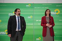"""Die Fraktionsvorsitzende von Buendnis 90/Die Gruenen im Deutschen Bundestag, Katrin Goering-Eckardt (links im Bild) und der Vorsitzende des Zentralrat des Muslime in Deutschland, Aiman Mazyek (rechts im Bild), vor der Fraktionssitzung von Buendnis 90/Die Gruenen.<br /> Aiman Mazyek wurde von der Fraktion eingeladen, um ueber die Situation der muslimischen Gemeinden in Deutschland nach den vermehrten Angriffen auf Moscheen und den Aeusserungen von Innen- und Heimatminister Horst Seehofer, """"der Islam gehoere nicht zu Deutschland"""", zu berichten.<br /> 20.3.2018, Berlin<br /> Copyright: Christian-Ditsch.de<br /> [Inhaltsveraendernde Manipulation des Fotos nur nach ausdruecklicher Genehmigung des Fotografen. Vereinbarungen ueber Abtretung von Persoenlichkeitsrechten/Model Release der abgebildeten Person/Personen liegen nicht vor. NO MODEL RELEASE! Nur fuer Redaktionelle Zwecke. Don't publish without copyright Christian-Ditsch.de, Veroeffentlichung nur mit Fotografennennung, sowie gegen Honorar, MwSt. und Beleg. Konto: I N G - D i B a, IBAN DE58500105175400192269, BIC INGDDEFFXXX, Kontakt: post@christian-ditsch.de<br /> Bei der Bearbeitung der Dateiinformationen darf die Urheberkennzeichnung in den EXIF- und  IPTC-Daten nicht entfernt werden, diese sind in digitalen Medien nach §95c UrhG rechtlich geschuetzt. Der Urhebervermerk wird gemaess §13 UrhG verlangt.]"""