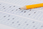 USA, Illinois, Metamora, Close-up of pencil on academic test