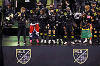 COLUMBUS, OH - DECEMBER 12: Columbus Crew celebrates after defeating Seattle Sounders FC during a game between Seattle Sounders FC and Columbus Crew at MAPFRE Stadium on December 12, 2020 in Columbus, Ohio.
