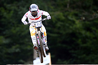 29th August 2021; Commezzadura, Trentino, Italy; 2021 Mountain Bike Cycling World Championships, Val di Sole; Downhill; Downhill final men, Charlie Hatton (GBR)