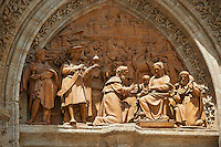 Door of Sticks or the Adoration of the Magi Statues entrance  of the Cathedral of Seville, Spain