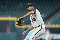 Arkansas Razorbacks relief pitcher Zebulon Vermillion (88) in action against the Baylor Bears in game nine of the 2020 Shriners Hospitals for Children College Classic at Minute Maid Park on March 1, 2020 in Houston, Texas. The Bears defeated the Razorbacks 3-2. (Brian Westerholt/Four Seam Images)