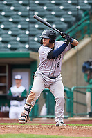 Kane County Cougars Jose Herrera (8) at bat during a Midwest League game against the Fort Wayne TinCaps at Parkview Field on May 1, 2019 in Fort Wayne, Indiana. Fort Wayne defeated Kane County 10-4. (Zachary Lucy/Four Seam Images)