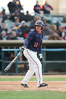 Marc Wilk (11) of the Lancaster JetHawks bats during a game against the Modesto Nuts at The Hanger on April 25, 2015 in Lancaster, California. Lancaster defeated Modesto, 5-4. (Larry Goren/Four Seam Images)