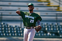 Daytona Tortugas third baseman Reyny Reyes (29) throws to first base during a game against the Bradenton Marauders on June 9, 2021 at LECOM Park in Bradenton, Florida.  (Mike Janes/Four Seam Images)