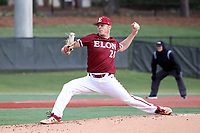 ELON, NC - FEBRUARY 28: Jared Wetherbee #20 of Elon University throws a pitch during a game between Indiana State and Elon at Walter C. Latham Park on February 28, 2020 in Elon, North Carolina.