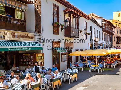 Spanien, Kanarische Inseln, Teneriffa, Puerto de la Cruz: Restaurants in der Altstadt   Spain, Canary Islands, Tenerife, Puerto de la Cruz: restaurants in old town