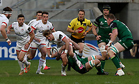 Friday 23rd April 2021; Stewart Moore is tackled by Paul Boyle during the first round of the Guinness PRO14 Rainbow Cup between Ulster Rugby and Connacht Rugby at Kingspan Stadium, Ravenhill Park, Belfast, Northern Ireland. Photo by John Dickson/Dicksondigital