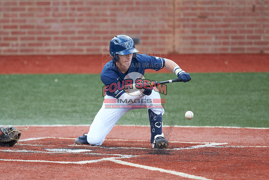 Clayton Nestor (23) of the Wingate Bulldogs lays down a bunt against the Concord Mountain Lions at Ron Christopher Stadium on February 1, 2020 in Wingate, North Carolina. The Bulldogs defeated the Mountain Lions 8-0 in game one of a doubleheader. (Brian Westerholt/Four Seam Images)