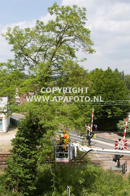 VELP 300512 Een boom dreigt op het spoort om te vallen bij de President Kennedylaan in Velp. Brandweerlieden zijn bezig de boom stukje bij beetje weg te halen.<br /> Foto Jorrit Knuvelder - APA Foto