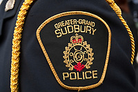 Greater Sudbury Police badge is seen during a police memorial parade in Ottawa Sunday September 26, 2010.