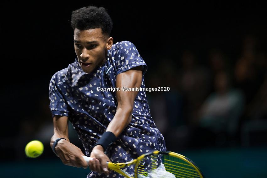 Rotterdam, The Netherlands, 15 Februari 2020, ABNAMRO World Tennis Tournament, Ahoy,<br /> Pablo Carreno Busta (ESP), Felix Auger-Aliassime (CAN).<br /> Photo: www.tennisimages.com