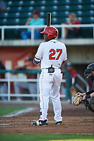 Orem Owlz Johan Sala (27) at bat during a Pioneer League game against the Idaho Falls Chukars at The Home of the OWLZ on August 13, 2019 in Orem, Utah. Orem defeated Idaho Falls 3-1. (Zachary Lucy/Four Seam Images)