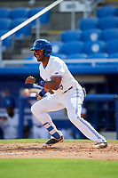 Dunedin Blue Jays designated hitter Joshua Palacios (7) follows through on a swing during a game against the Lakeland Flying Tigers on May 27, 2018 at Dunedin Stadium in Dunedin, Florida.  Lakeland defeated Dunedin 2-1.  (Mike Janes/Four Seam Images)