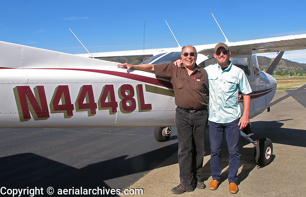 Certified Flight Instructor Kenny Henninger and his student Pascual Puertolas with Cessna 172 N4448L before takeoff at Lampson Field Airport (1O2), Lakeport, Lake County, California