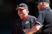 Utah Utes head coach Bill Kinneberg #11 prior to the start of the game against the Kentucky Wildcats at Minute Maid Park on March 6, 2011 in Houston, Texas.  Photo by Brian Westerholt / Four Seam Images