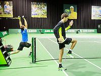 Februari 09, 2015, Netherlands, Rotterdam, Ahoy, ABN AMRO World Tennis Tournament, Warming up Robin Haase - Andy Murray<br /> Photo: Tennisimages/Henk Koster