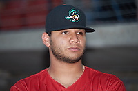 Edgar Arredondo (46) of the Down East Wood Ducks prior to the start of the 2018 Carolina League All-Star Classic at Five County Stadium on June 19, 2018 in Zebulon, North Carolina. The South All-Stars defeated the North All-Stars 7-6.  (Brian Westerholt/Four Seam Images)