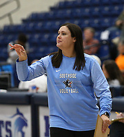 Natalie Throneberry head volleyball coach of Southside on Tuesday, October 12, 2021, during play at Wildcat Arena, Springdale. Visit nwaonline.com/211013Daily/ for today's photo gallery.<br /> (Special to the NWA Democrat-Gazette/David Beach)