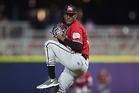 Carolina Mudcats relief pitcher Abner Uribe (15) in action against the Kannapolis Cannon Ballers at Atrium Health Ballpark on June 9, 2021 in Kannapolis, North Carolina. (Brian Westerholt/Four Seam Images)