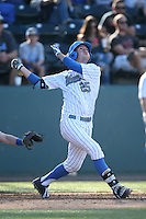 Chris Keck (25) of the UCLA Bruins bats during a game against the Hofstra Pride at Jackie Robinson Stadium on March 14, 2015 in Los Angeles, California. UCLA defeated Hofstra, 18-1. (Larry Goren/Four Seam Images)