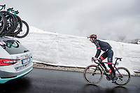 Davide Formolo (ITA/UAE-Emirates) coming over the Passo Giau<br /> <br /> due to the bad weather conditions the stage was shortened (on the raceday) to 153km and the Passo Giau became this years Cima Coppi (highest point of the Giro).<br /> <br /> 104th Giro d'Italia 2021 (2.UWT)<br /> Stage 16 from Sacile to Cortina d'Ampezzo (shortened from 212km to 153km)<br /> <br /> ©kramon