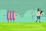 Illustrative image of businessman achieving multiple targets
