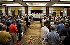 Jan. 6, 2013; Rev. John I. Jenkins, C.S.C., president of the University of Notre Dame, concelebrates Mass at the Intercontinental Hotel Ballroom in Miami. Photo by Barbara Johnston/University of Notre Dame