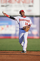 Harrisburg Senators second baseman Khayyan Norfork (15) throws to first base during a game against the Bowie Baysox on May 16, 2017 at FNB Field in Harrisburg, Pennsylvania.  Bowie defeated Harrisburg 6-4.  (Mike Janes/Four Seam Images)