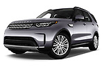 Stock pictures of low aggressive front three quarter view of 2017 Land Rover Discovery HSE 5 Door SUV