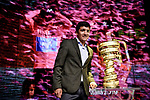 Defending Champion Richard Carapaz (ECU) on stage at the route presentation for the 103rd edition of the Giro d'Italia 2020 held in the RAI Studios, Milan, Italy. <br /> 24th October 2019.<br /> Picture: LaPresse/Claudio Furlan   Cyclefile<br /> <br /> All photos usage must carry mandatory copyright credit (© Cyclefile   LaPresse/Claudio Furlan)