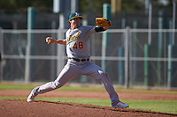 Oakland Athletics pitcher Heath Fillmyer (48) during an instructional league game against the San Francisco Giants on October 12, 2015 at the Giants Baseball Complex in Scottsdale, Arizona.  (Mike Janes/Four Seam Images)