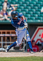 31 May 2018: New Hampshire Fisher Cats outfielder Jonathan Davis connects for a triple in the third inning against the Portland Sea Dogs at Northeast Delta Dental Stadium in Manchester, NH. The Sea Dogs defeated the Fisher Cats 12-9 in extra innings. Mandatory Credit: Ed Wolfstein Photo *** RAW (NEF) Image File Available ***
