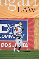 Mahoning Valley Scrappers center fielder Todd Isaacs (6) catches a fly ball during a game against the Auburn Doubledays on June 19, 2016 at Falcon Park in Auburn, New York.  Mahoning Valley defeated Auburn 14-3.  (Mike Janes/Four Seam Images)