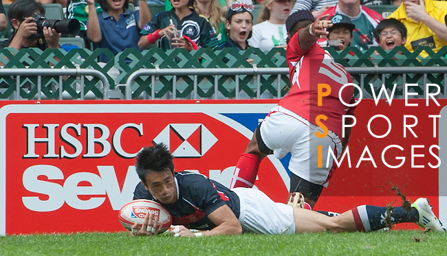 Tonga vs Hong Kong on Day 2 of the 2012 Cathay Pacific / HSBC Hong Kong Sevens at the Hong Kong Stadium in Hong Kong, China on 24th March 2012. Photo © Mike Pickles  / The Power of Sport Images