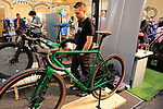 Mark Hester owner and builder of Prova Cycles stand at Bespoked 2018 UK handmade bicycle show held at Brunel's Old Station & Engine Shed, Bristol, England. 21st April 2018.<br /> Picture: Eoin Clarke | Cyclefile<br /> <br /> <br /> All photos usage must carry mandatory copyright credit (© Cyclefile | Eoin Clarke)