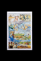 Tripoli, Libya, North Africa - Libyan Stamps Commemorating 24th Anniversary of the Revolution of September 1, 1968.  Scenes depict Muammar Qadhafi, agricultural advances, military preparedness, and the development of The Great Man-Made River.