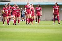 STANFORD, CA - September 3, 2017: Carly Malatskey,Tierna Davidson,Kyra Carusa,Jaye Boissiere,Averie Collins,Jordan DiBiasi,Catarina Macario,Alana Cook at Cagan Stadium. Stanford defeated Navy 7-0.