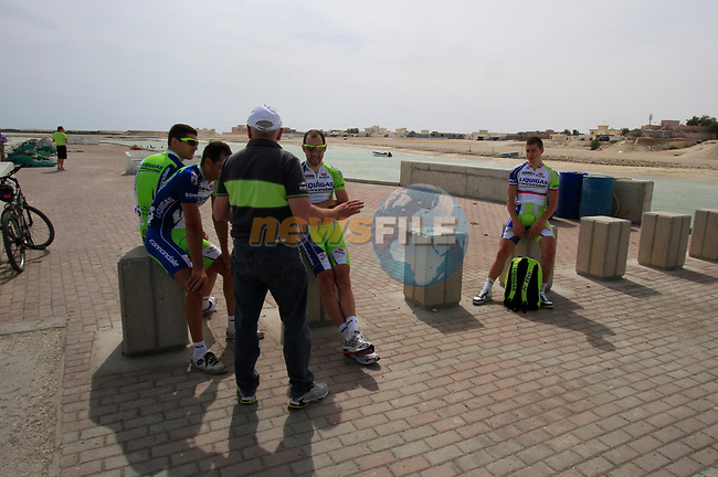 Liquigas-Cannondale riders relax before the start of Stage 4 of the 2012 Tour of Qatar from Al Thakhira to Madinat Al Shamal, Qatar. 8th February 2012.<br /> (Photo Eoin Clarke/Newsfile)